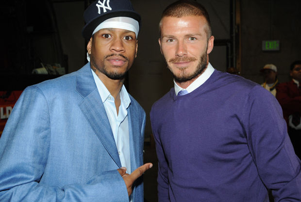 Allen Iverson y David Beckham./ Getty Images