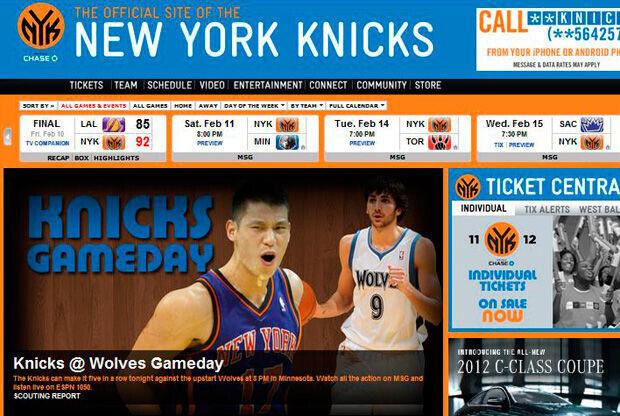 Imagen de la portada de la web de los Knicks