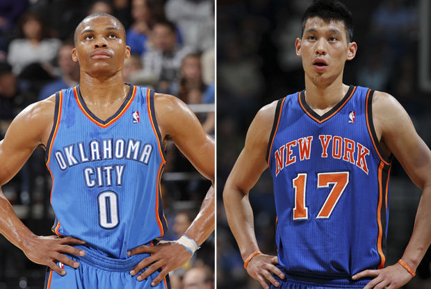 Jeremy Lin y Russell Westbrook./ Getty Images
