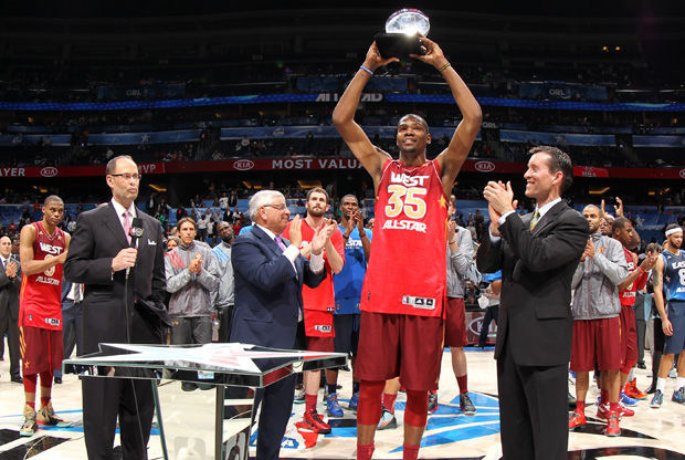 Kevin Durant, MVP del All-Star Orlando 2012./ Getty
