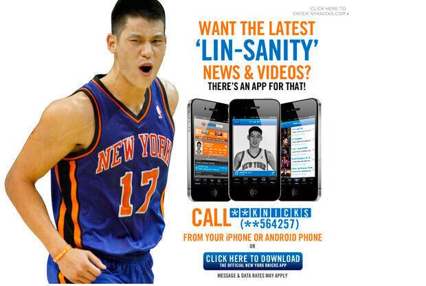 Publicidad de la nueva app de los Knicks con Jeremy Lin como reclamo