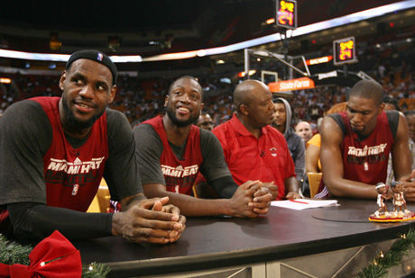 LeBron James, Dwyane Wade y Chris Bosh./ Getty