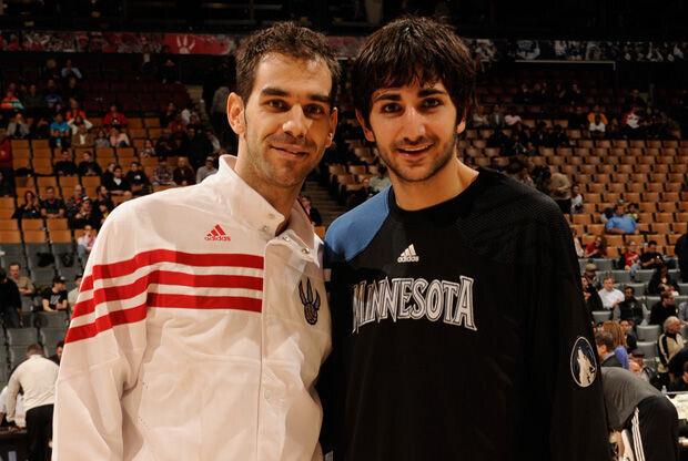 José Manuel Calderón y Ricky Rubio./ Getty
