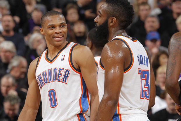 Russell Westbrook y James Harden./ Getty Images