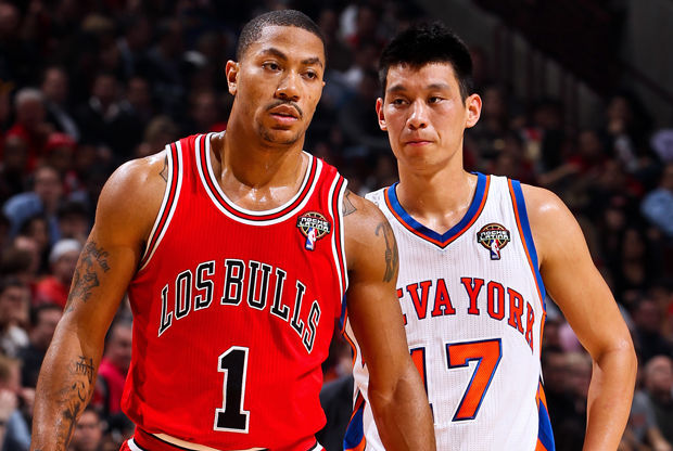 Derrick Rose y Jeremy Lin./ Getty Images