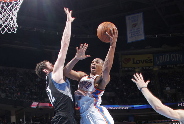 Russell Westbrook y Kevin Love./ Getty Images