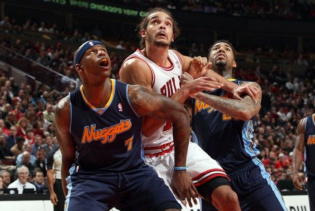 Al Harrington, Joakim Noah y Wilson Chandler./ Getty Images
