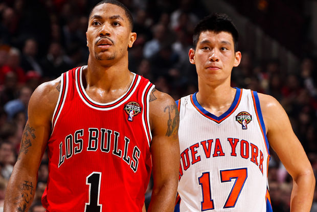 Jeremy Lin y Derrick Rose./ Getty Images