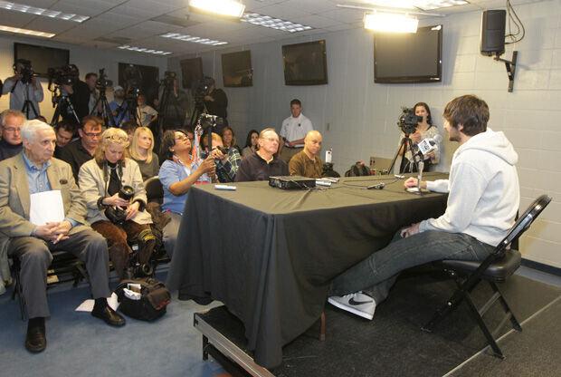 Ricky Rubio, ante la prensa./ Getty