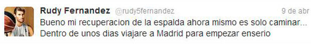 Mensaje de Rudy en twitter./ Getty