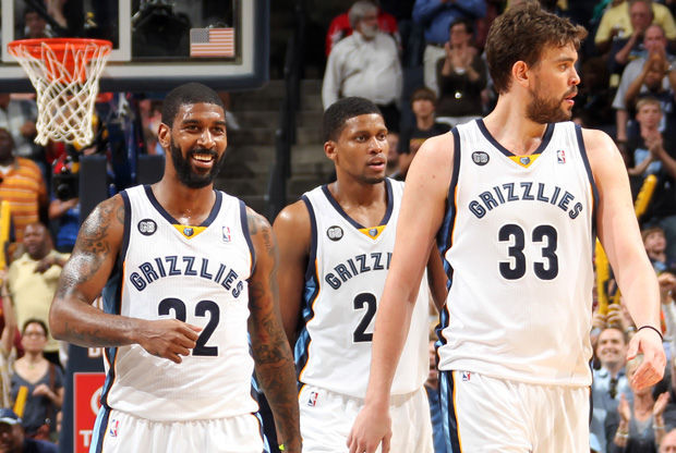 O.J. Mayo, Rudy Gay y Marc Gasol./ Getty