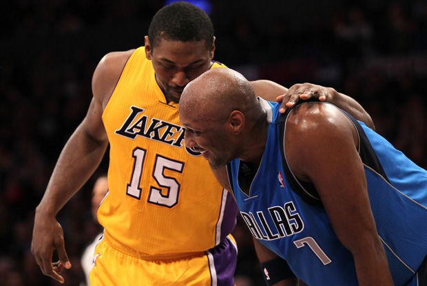 Lamar Odom y Metta World Peace./ Getty