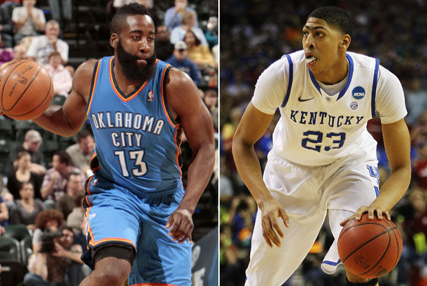 James Harden y Anthony Davis./ Getty Images