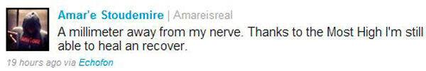 Mensaje de Amar'e Stoudemire en su cuenta de twitter