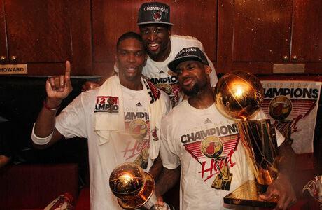 Bosh, Wade y James./ Getty