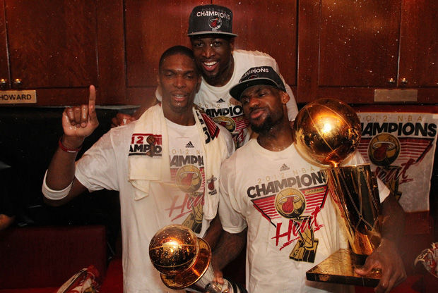 Bosh, Wade y LeBron, el 'Big Three' de Miami./ Getty