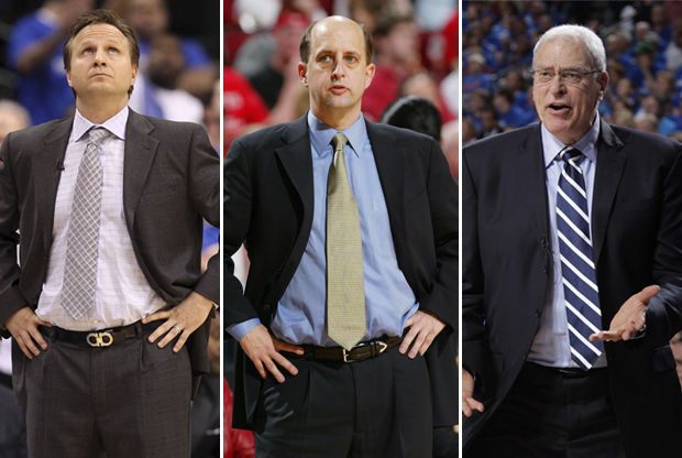 Scott Brooks, Jeff Van Gundy y Phil Jackson./ Getty Images