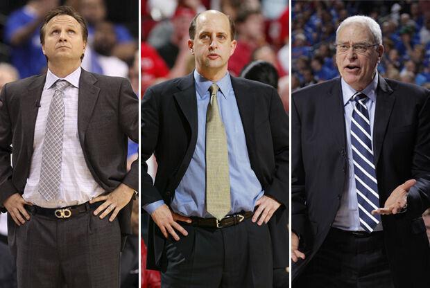 Scott Brooks, Jeff Van Gundy y Phil Jackson./ Getty Images