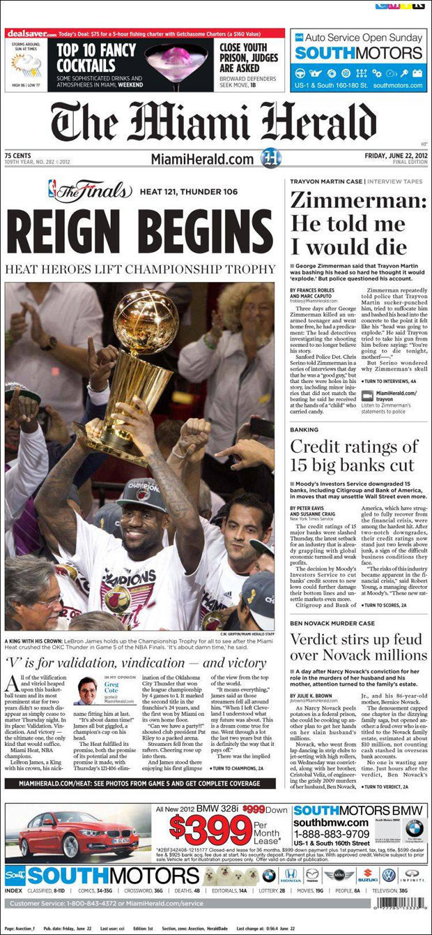 LeBron James, portada de Miami Herald