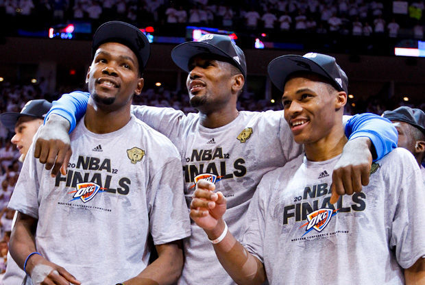 Kevin Durant #35, Serge Ibaka #9 and Russell Westbrook #0