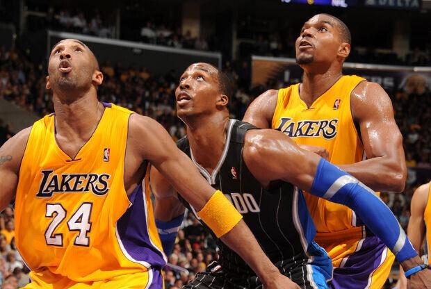Kobe Bryant, Dwight Howard y Andrew Bynum./ Getty Images