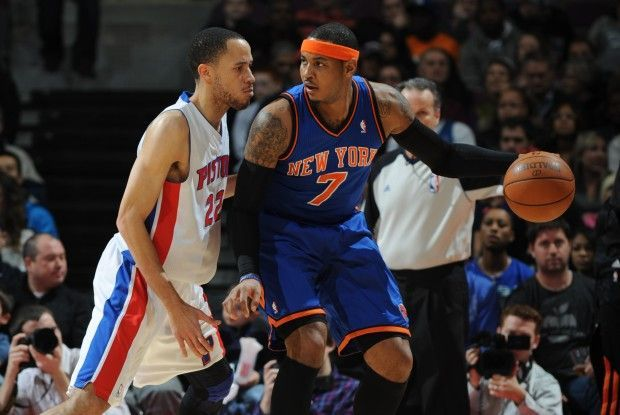 Tayshaun Prince y Carmelo Anthony./ Getty Images