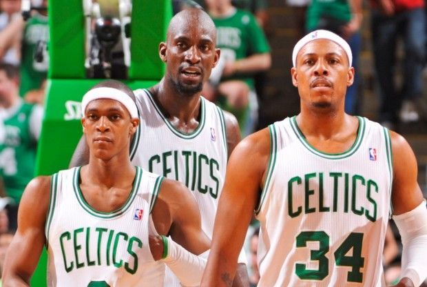 Rajon Rondo, Kevin Garnett, Paul Pierce./ Getty Images