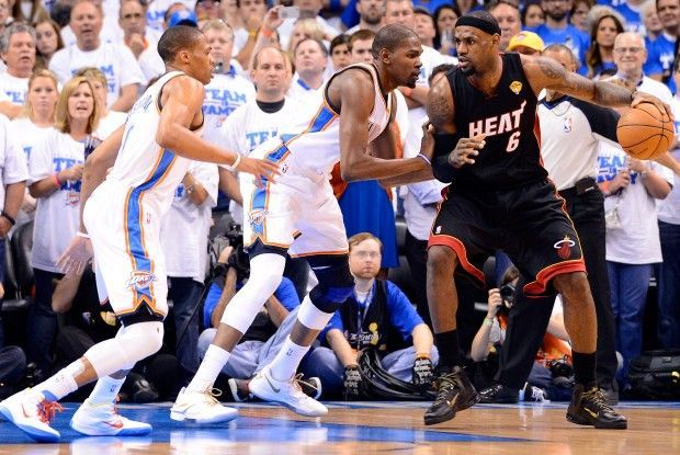 Russell Westbrook, Kevin Durant, LeBron James./ Getty Images