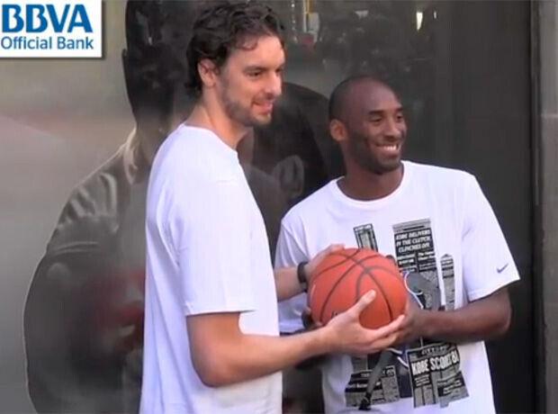 Pau Gasol y Kobe Bryant, en Barcelona
