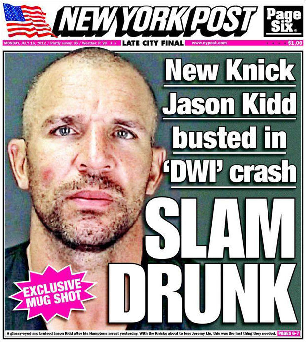 Jason Kidd, portada de New York Post y New York Daily News por su detención