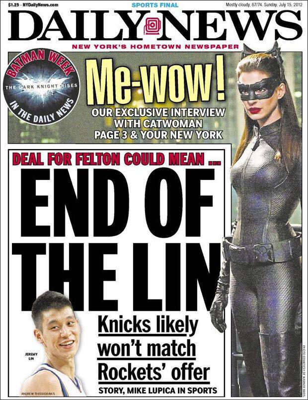 El posible adiós de Jeremy Lin en portada del New York Daily