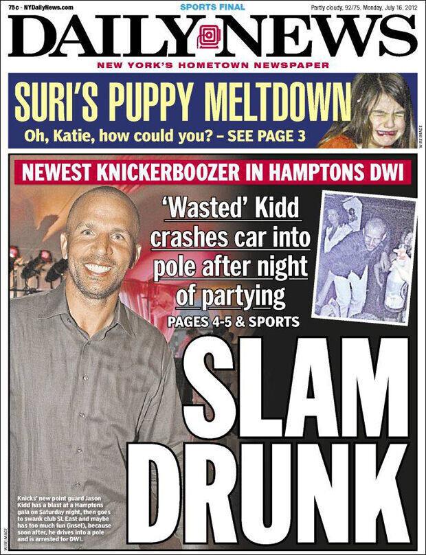 Jason Kidd, portada de New York Post y New York Daily News por su detención
