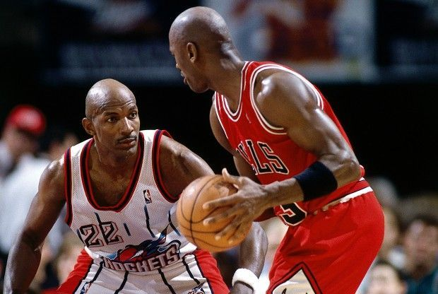 Clyde Drexler y Michael Jordan./ Getty Images