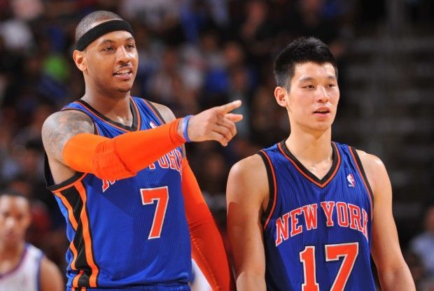 Carmelo Anthony y Jeremy Lin./ Getty Images