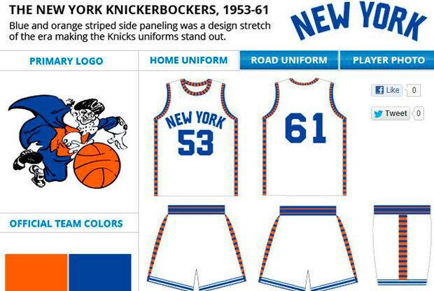 Logo y camiseta de los Knickerbockers 1953-61