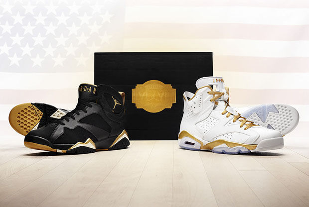 Air Jordan Retro 6 en Blanco/Oro y Air Jordan Retro 7 en Negro/Oro