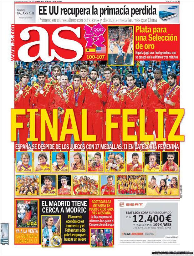 La selección de España, protagonista de toda la presa española