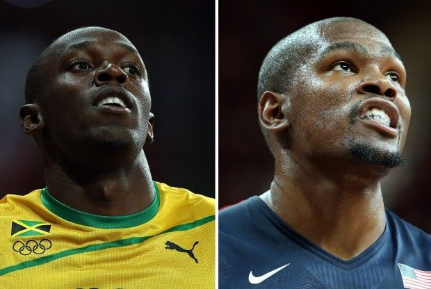 Usain Bolt, Kevin Durant./ Getty Images
