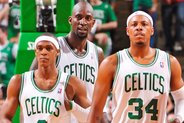 Rondo, Garnett y Pierce./ Getty