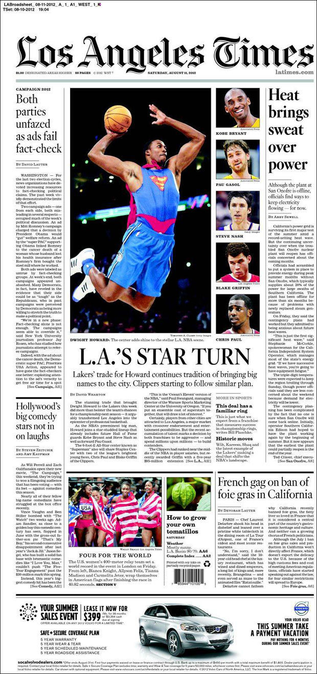 Dwight Howard, portada en Los Angeles Times
