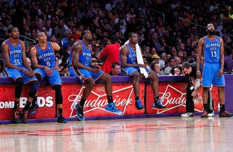 Imagen del quinteto de los Thunder 2011-2012./ Getty