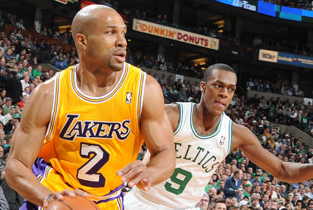 Derek Fisher y Rajon Rondo./ Getty Images