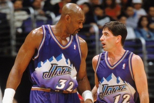 Karl Malone y John Stockton./ Getty Images