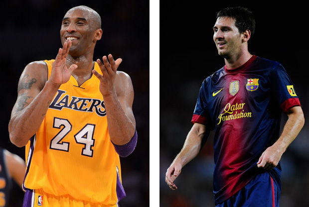 Kobe Bryant y Leo Messi./ Getty