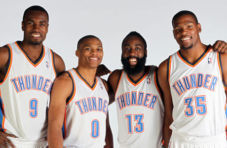 Serge Ibaka, Russell Westbrook, James Harden y Kevin Durant./ Getty Images