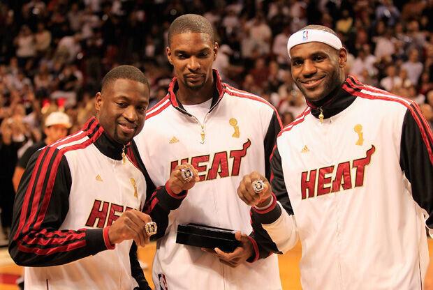 Dwyane Wade, Chris Bosh, LeBron James./ Getty Images