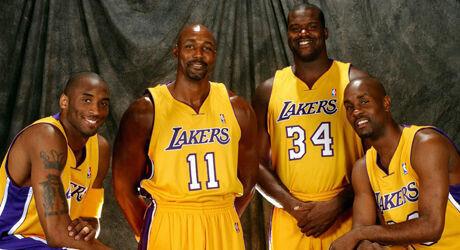 Kobe Bryant, Karl Malone, Shaquille O'Neal y Gary Payton./ Getty Images