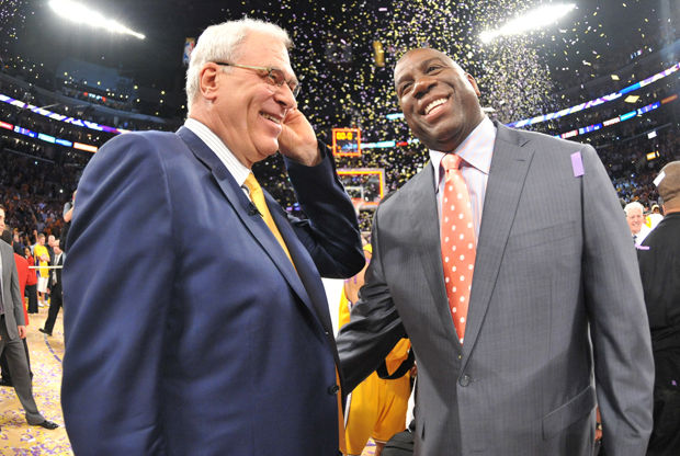 Magic Johnson y Phil Jackson./ Getty Images