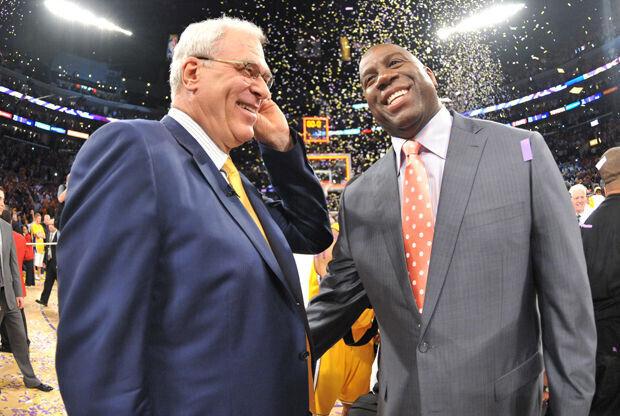 Magic Johnson y Phil Jackson./ Getty Images