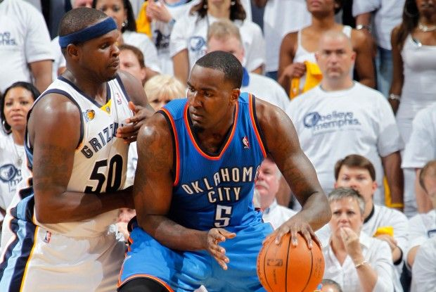 Zach Randolph y Kendrick Perkins./ Getty Images